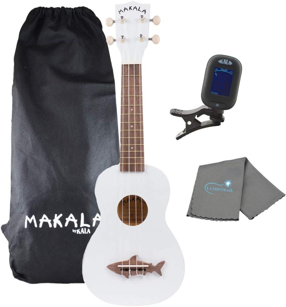 Kala Great White Makala Soprano Shark Ukulele - MK-SS/WHT Bundle with a Kala Tuner and Lumintrail Polishing Cloth
