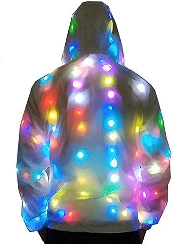 SHTST Chaqueta de la Camisa de los LED de Luces de Colores Discoteca Partido Luminosa par Chaqueta Rompevientos con Capucha de la Moda para Hombre y Mujer, White- M: Amazon.es: Ropa y