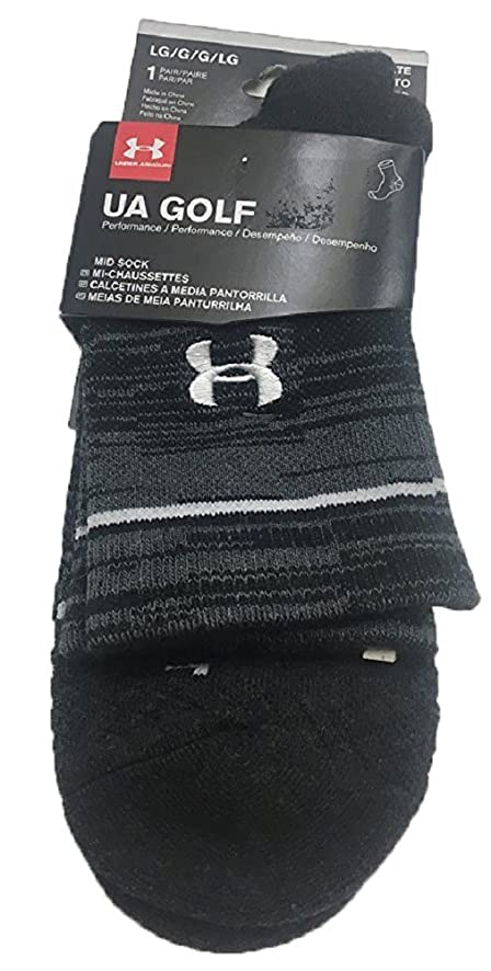 Under Armour Mens UA Tour Mid Crew Socks Large Black