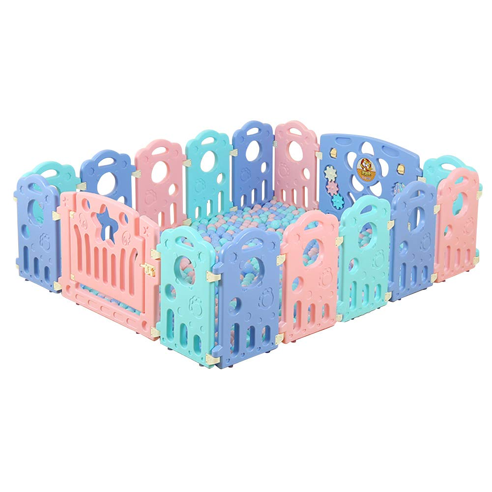 Fivtyily Foldable Baby Playpen Safety Activity Games Center Multicolor for Home Indoor Outdoor (16 Panel)