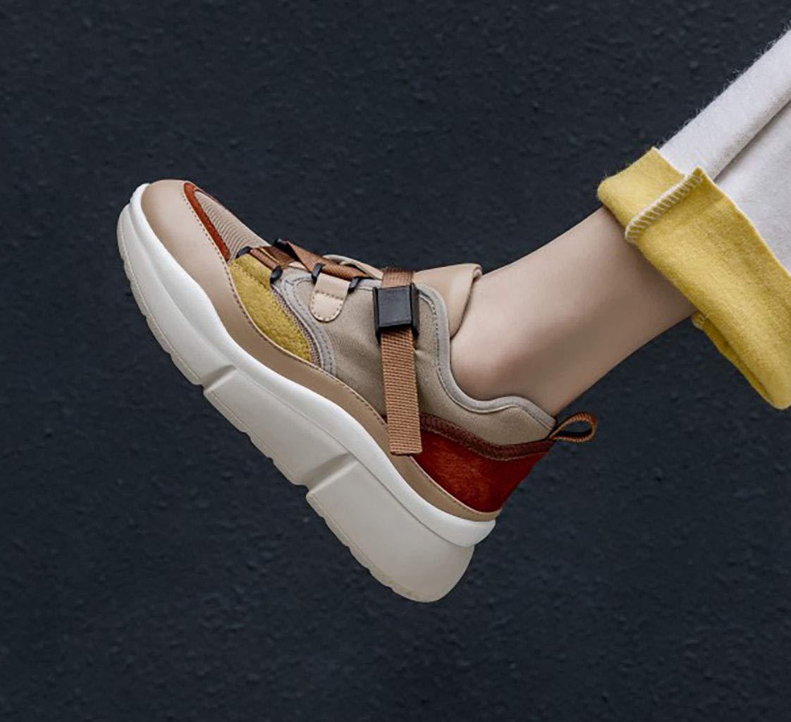 HRN Damenschuhe Leder Boden matt dickem Boden Leder Rundkopf Freizeitschuhe Schnürmuffin Laufschuhe Laufschuhe Gelb 40EU f276ae