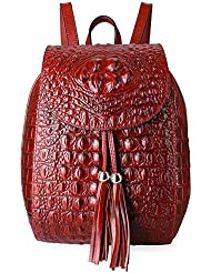 PIFUREN Women Fashion Genuine Leather Backpacks Crocodile Bag
