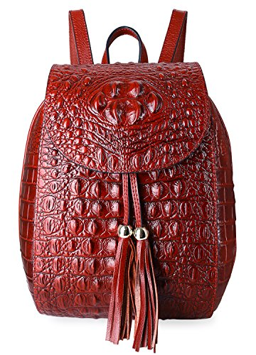 Pifuren Women Fashion Genuine Leather Backpacks Crocodile Bag (E76810, Red) by PIFUREN