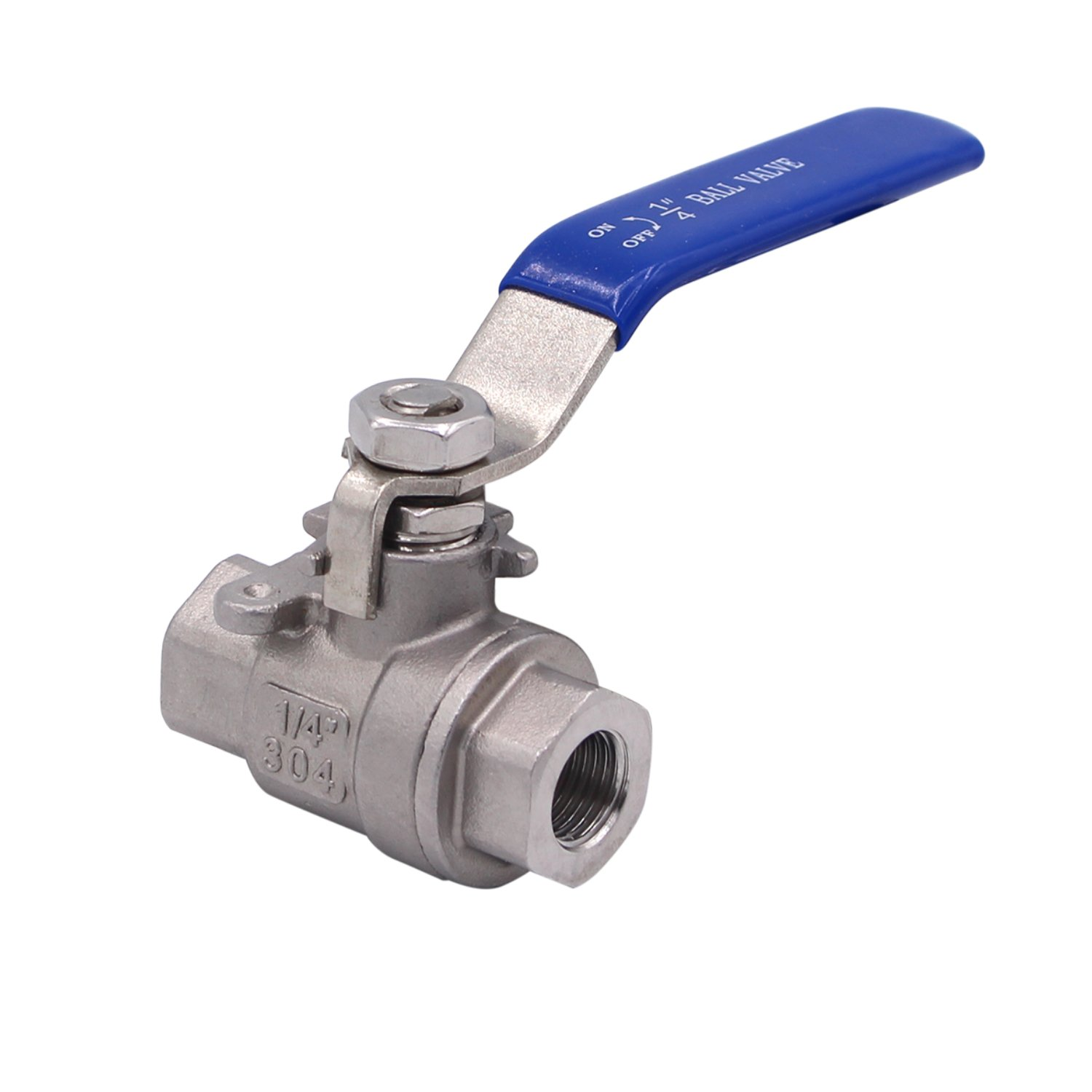 Dernord Full Port Ball Valve Stainless Steel 304 Heavy Duty for Water, Oil, and Gas with Blue Locking Handles (1/4'' NPT)