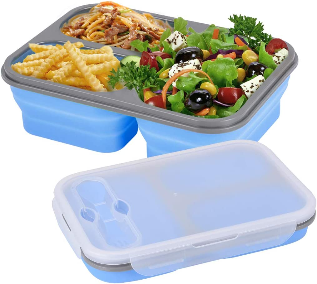 Xcellent Global Collapsible Silicone Food Storage Container, Lunch Bento Box, 3-Compartment with Fork Spoon, BPA free, for Adults & Kids (3 compartment blue)