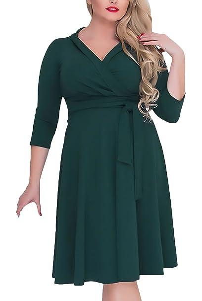 Vestidos De Fiesta Mujer Tallas Grandes Elegantes Primavera Verano Manga Larga V Niñas Ropa Cuello Coctel Vestido Color Sólido Fashionista Medium Largos ...