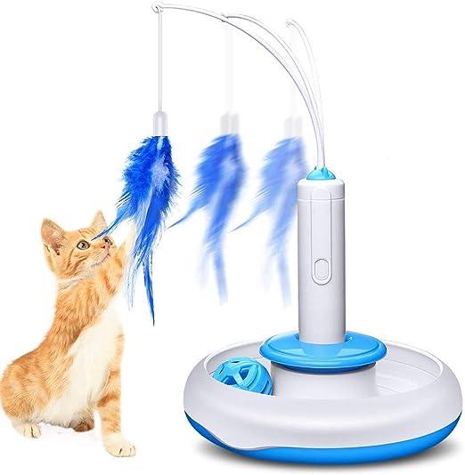 Rhww Juguetes para Gatos ElectróNico Interactivo Bola Pista,Mascota AutomáTico Gato Juguete 2 En 1 Rompecabezas Juguete Pluma Varita Y Torre De Pista Juguete para Los Gatos Y Gatitos: Amazon.es: Productos para mascotas