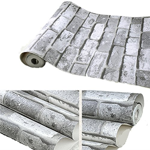 Emoyi Retro Vintage Faux Brick Pattern Vinyl Contact Paper Self-adhesive Peel-stick Wallpaper 20.8''x78.7'' (Grey) (Brick Furnitures)