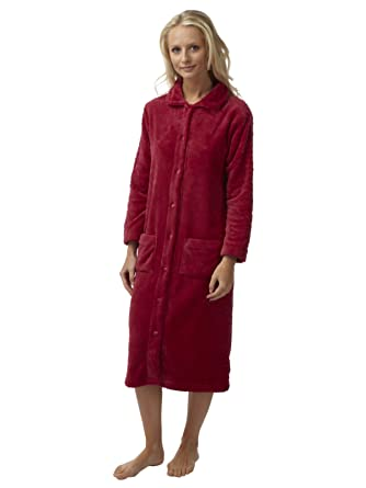 Ladies Embossed Button through Flannel Fleece Dressing Gown Robe ...