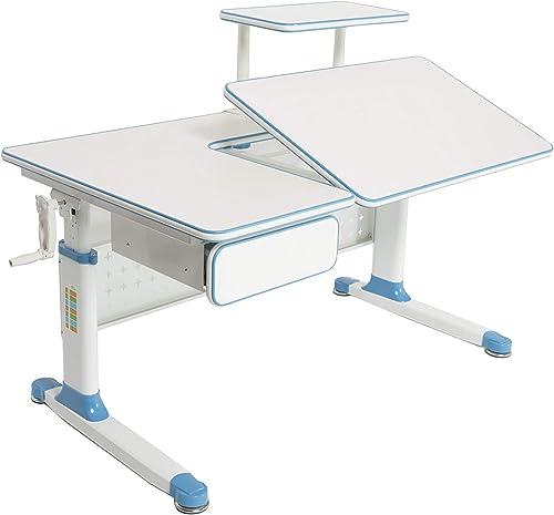 ApexDesk Little Soleil Dx 43 Children s Height Adjustable Study Desk W Integrated Shelf Drawer Blue , Denim Blue