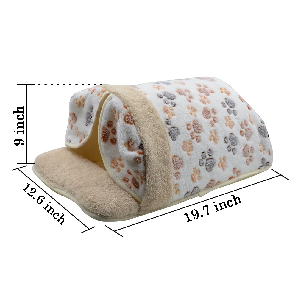 White CreaTion Cute Warm Soft Fleece Pet Kennel Bed With Curtain Sleeping Bag Design With Paw Print For Small Cats And Dogs (white)