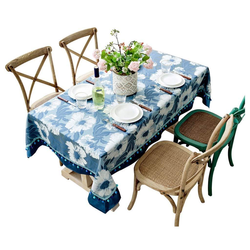 SCJ コーヒーテーブルのテーブルクロス、ブルーのヨーロッパのコットンとリネンの小さな新鮮なカスタム長方形のテーブルクロス、多くの機会に適した、マルチサイズオプション(色:A、サイズ:130× 200cm) 130×200cm A B07S7ZPCRX