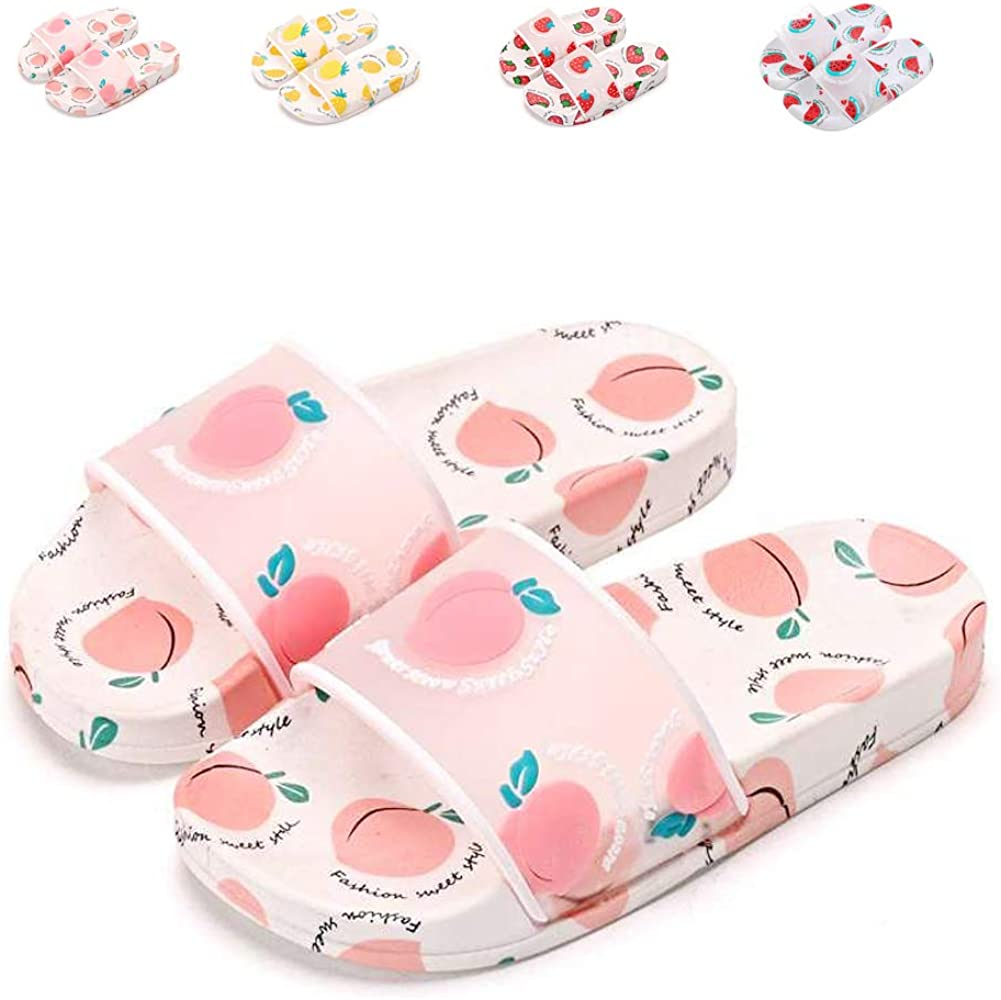 Girls Boys Summer Slippers Kids Slide Sandals Little Kid Beach Slippers Cute Fruits Pool Shoes Anti-Slip House Slippers Clogs Flip Flops
