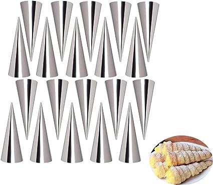 Oferta amazon: LaceDaisy 20pzs DIY Tubos de Croissants al Horno en Espiral de Acero Inoxidable Rollo de Pastel de Cuerno Molde de Torta Utensilios para Hornear Moldes Cónicos de Cono Croissant de Pastelería Danesa#1