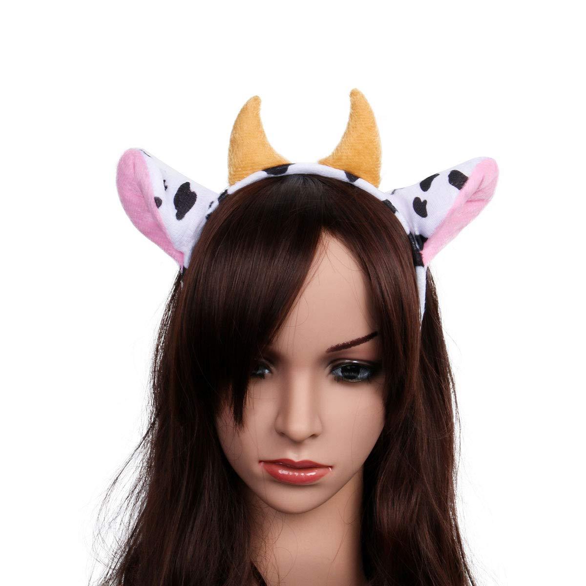 Funhoo Halloween Animal Hair Bands Headbands Cow Ears Giraffe Kangaroo Buffalo Party Costume Props Cow