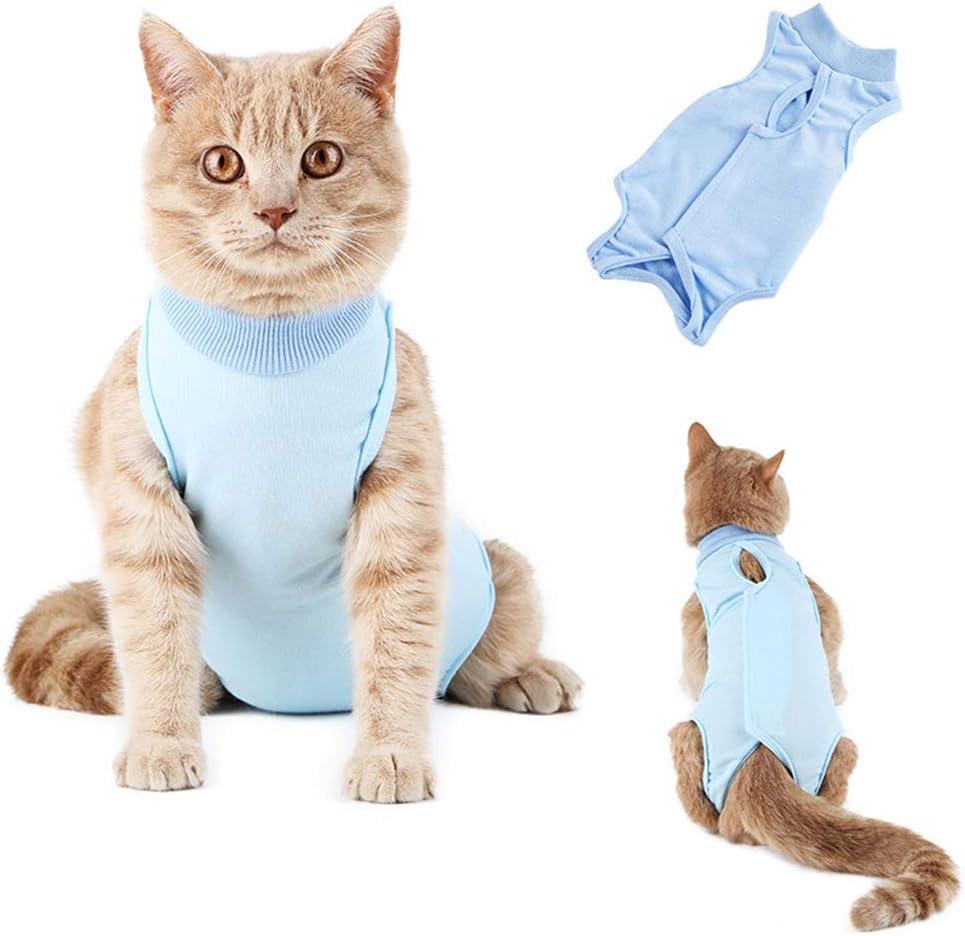 21sandwhick - Traje de Neopreno para Gatos, Transpirable, elástico, protección contra heridas, Tela de algodón, Azul, Medium: Amazon.es: Hogar