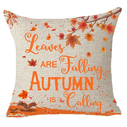 FELENIW Happy autumn Fall Big tree Maple Leaf bicycle Throw Pillow Cover Cushion Case Cotton Linen Material Decorative 18 x18 Square