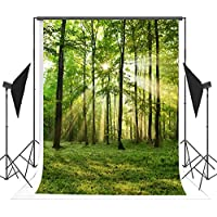 5x7ft Green Spring Backdrops Photography Forest Grassland Sunlight Photo Studio Background FT2555