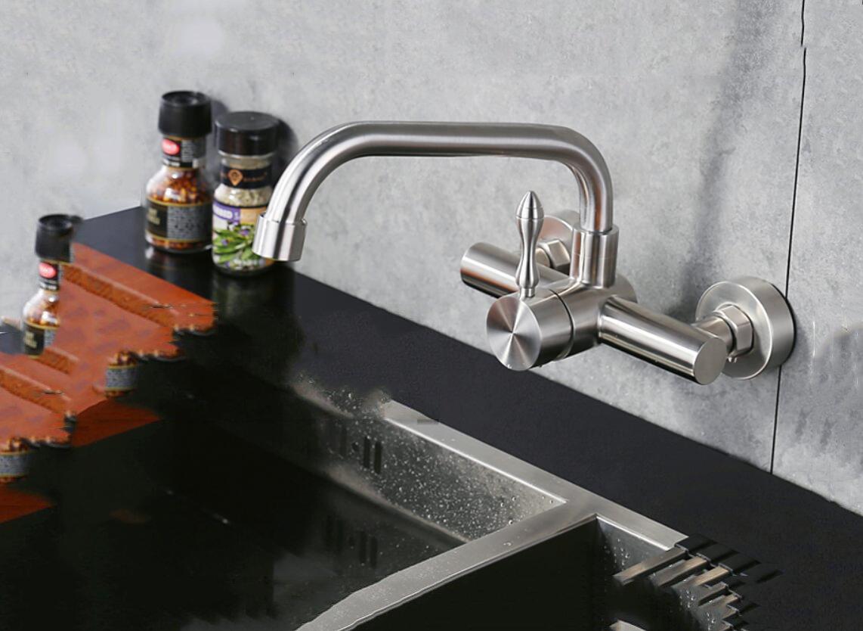 Dans le robinet mural Robinet en acier inoxydable Robinet mural-type Mitigeur d/'/évier inox pivotant A