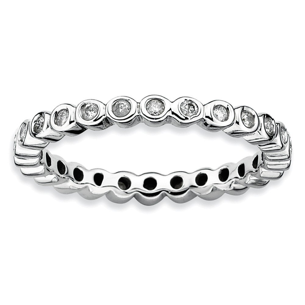 Diamond (I3, J-K 0.286 cttw) Size 6 2.5mm Bezel Set Eternity Band Silver Stackable Expressions Ring