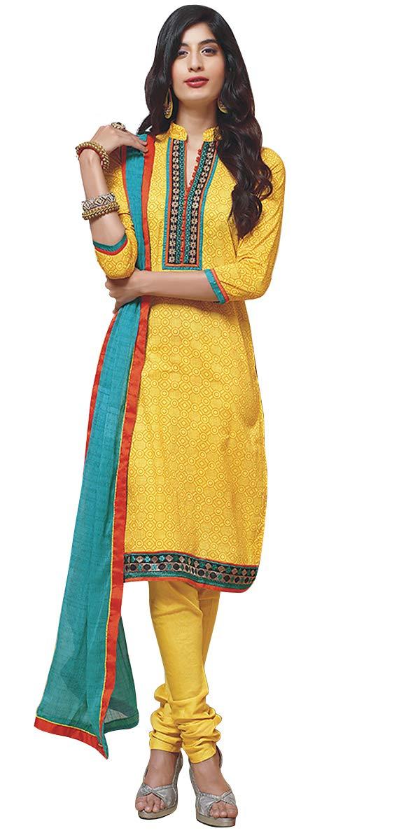 Fancy Daily Wear Women and Girls Casual Salwar Kameez Suit/Dress SFZ053 (Yellow, XL)