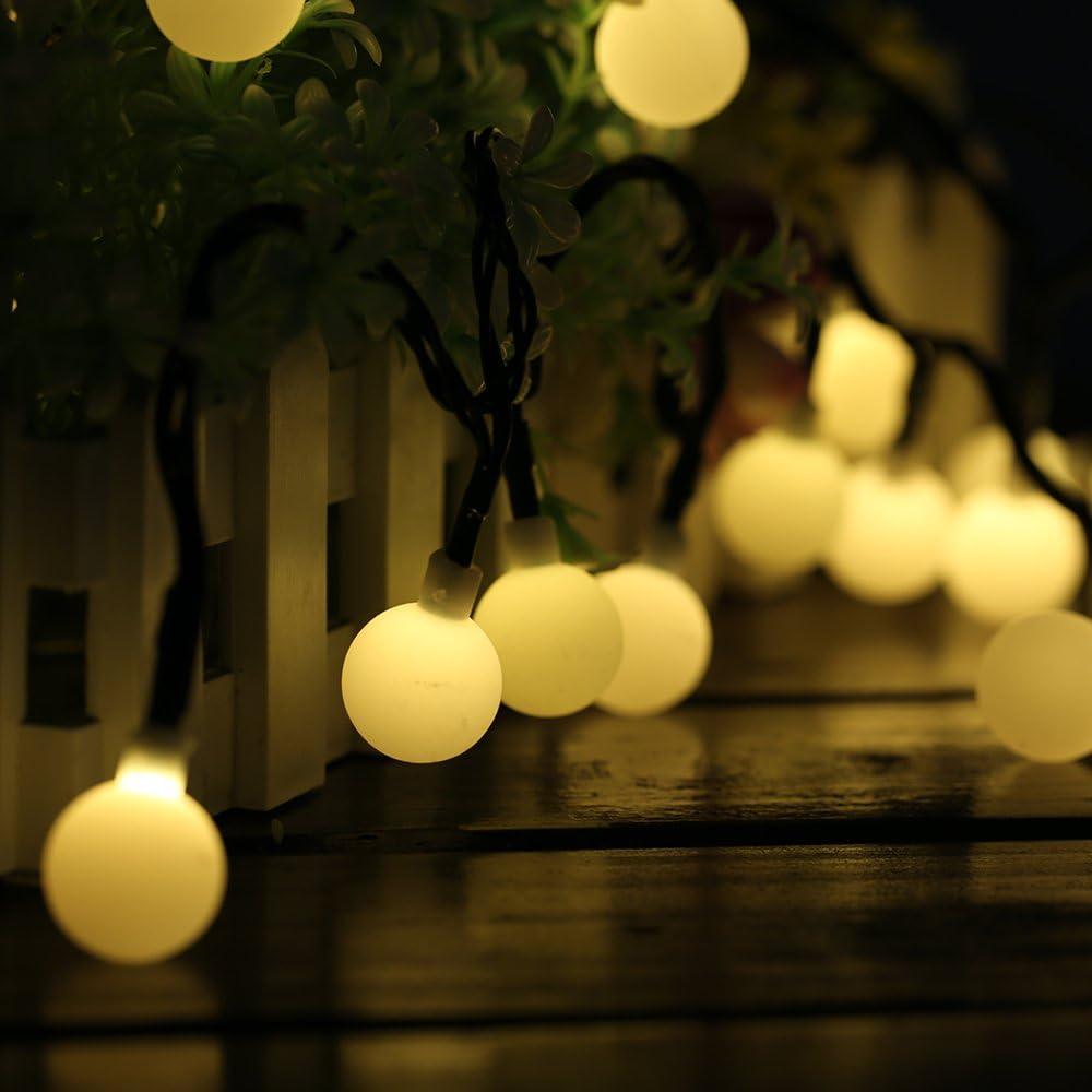 60 LED 10M Cadena Solar de Luces, IP65 Impermeable 8 Modos Luces ...