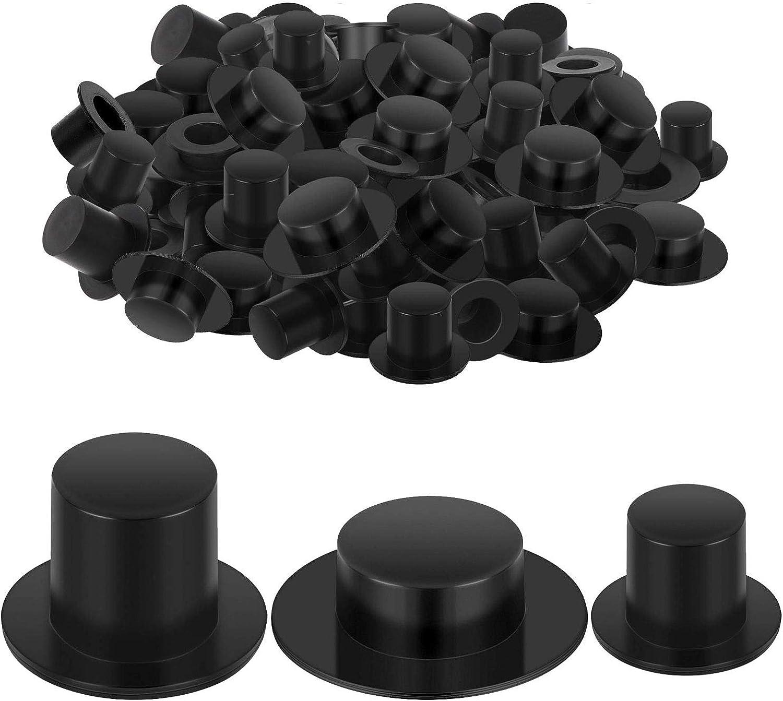 Trounistro 100 Pack Mini Plastic Black Top Hats Magician Top Hats for Chrismas Winter Snowman DIY Decoration Party Supplies, 3 Size