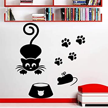 Mickey Minnie Mouse Wall Art Decal Sticker Cat Mouse Silhouettes ...