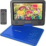 DBPOWER 9.5'' Lettore DVD portatile, 5 ore Batteria ricaricabile, display inclinabile, Massimo support con schede SD, pennette USB e riproduzione diretta di AVI/RMVB/MP3/JPEG (Blu, 9.5)