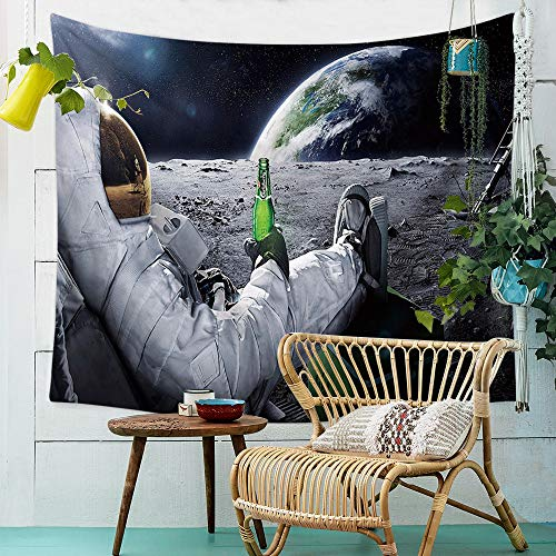 QCWN Astronaut Tapestry, Spaceman with Beer Sitting on Universe Outer Space Wall Hanging Tapestry for Bedroom Living Room Dorm. (78″ L59 W)