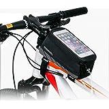 Intsun Bike Frame Top Tube bag, Waterproof Cycling Bike Bicycle Handlebar Pannier Bag Touchscreen Bag Phone Storage Bag for Iphone 6s Plus/6s/6 Plus/6 Samsung 4.8 5.5 Inch Mobile Cell Phone