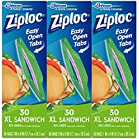 3-Pack X-Large Ziploc 30-Ct Sandwich Bags (Total 90-Count)