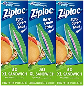 3-Pack of 30-Count X-Large Ziploc Sandwich Bags (Total 90-Count)