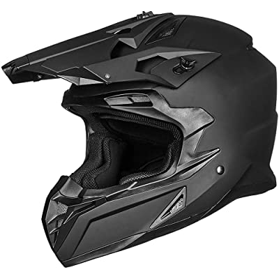 ILM Adult ATV Motocross Off-Road Street Dirt Bike Full Face Motorcycle Helmet DOT Approved MX MTV Suits Men Women (L, Matte Black): Automotive