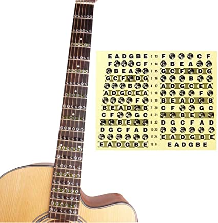 Pegatina para el cuello de la guitarra con notas de mapa, para ...