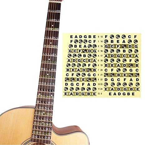Pegatina para el cuello de la guitarra con notas de mapa, para aprender a usar