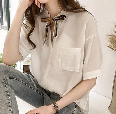 ZFFde Nuevo estilo Camisa de lazo de color sólido de moda para tu blusa (Color : White, tamaño : L): Amazon.es: Ropa y accesorios
