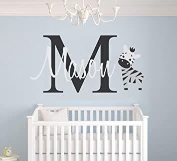 Personalized Name Zebra Animal Series Baby Boy Nursery Wall Decal For  Room Decorations Mural  Sticker  Home Bedroom