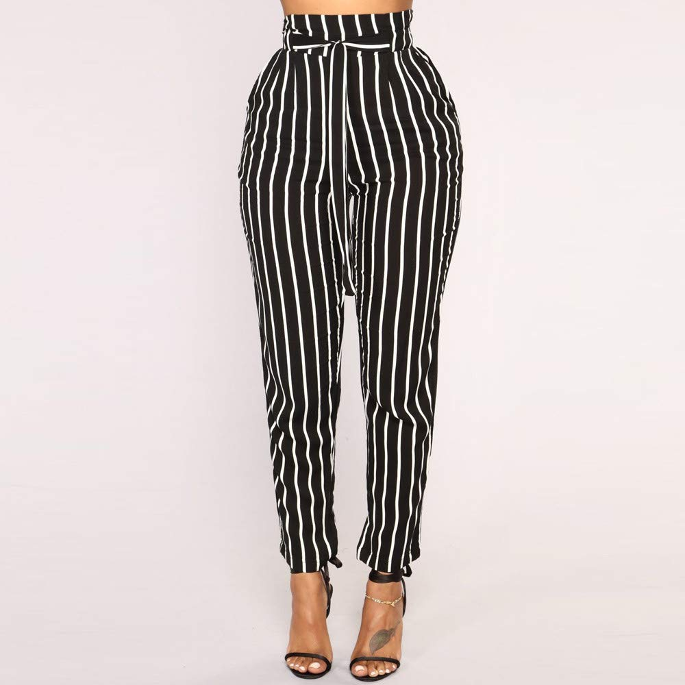 POQOQ Pants Paper Bag Womens Trouser Slim Belted High Waist Trousers