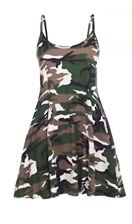 b864c9689af Women s army camouflage printed strappy cami mini dress long vest (S m 8