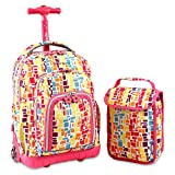 Pink Blue Orange Geometric Pattern Rolling Backpack With Lunch Box 16-Inch, Featuring All Over Rectangle Cubic Print Knapsack, Kids School Bag with Wheels, Multi-Compartments, Handle, For Girls/Teens