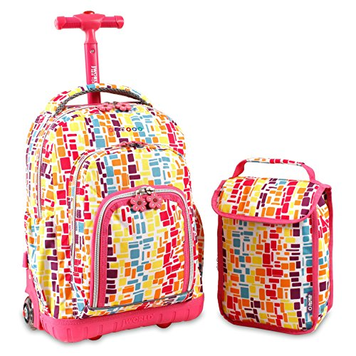 Pink Blue Orange Geometric Pattern Rolling Backpack With Lunch Box 16-Inch, Featuring All Over Rectangle Cubic Print Knapsack, Kids School Bag with Wheels, Multi-Compartments, Handle, For Girls/Teens by S & E
