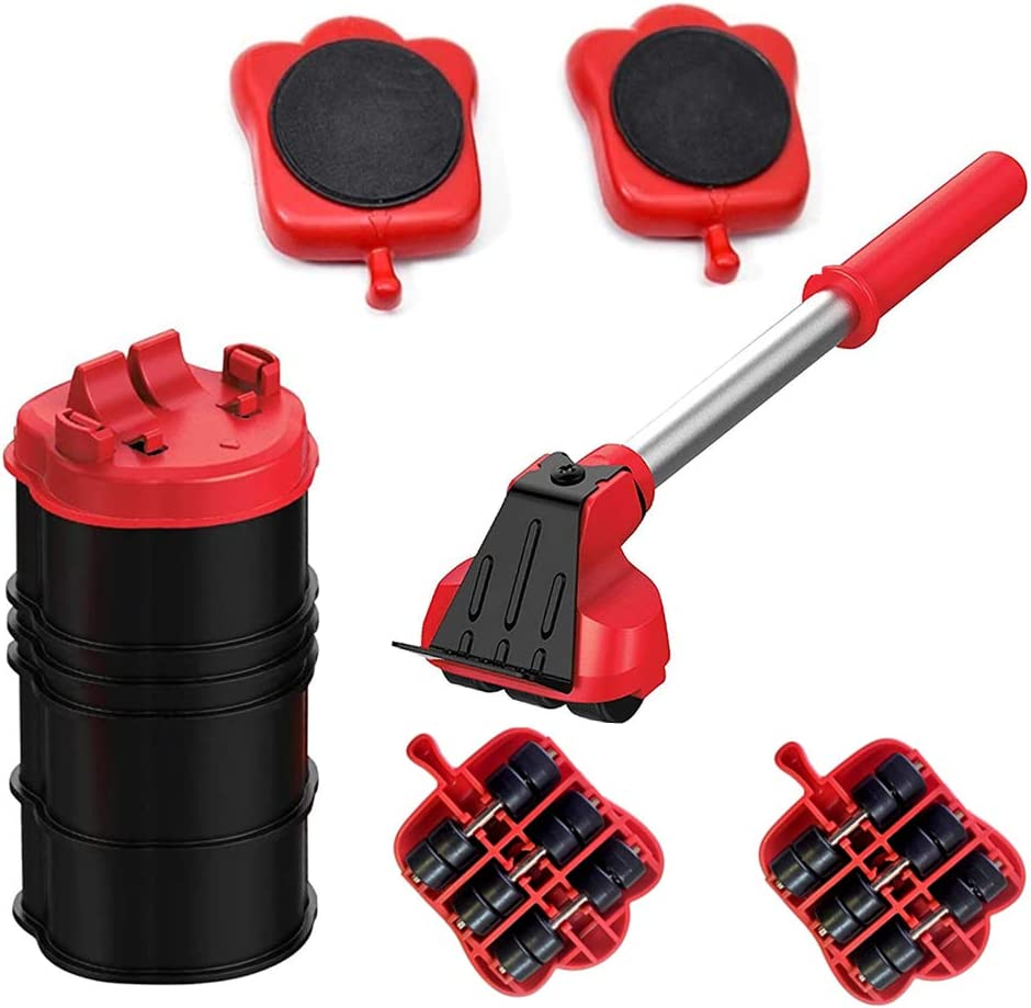 Easy Furniture Lifter Mover Tool Set Duty Furniture Roller Move with 4 Sliders Adjustable Height Furniture Slider Up to 300KG Suitable for Sofas, Appliance Roller Refrigerators