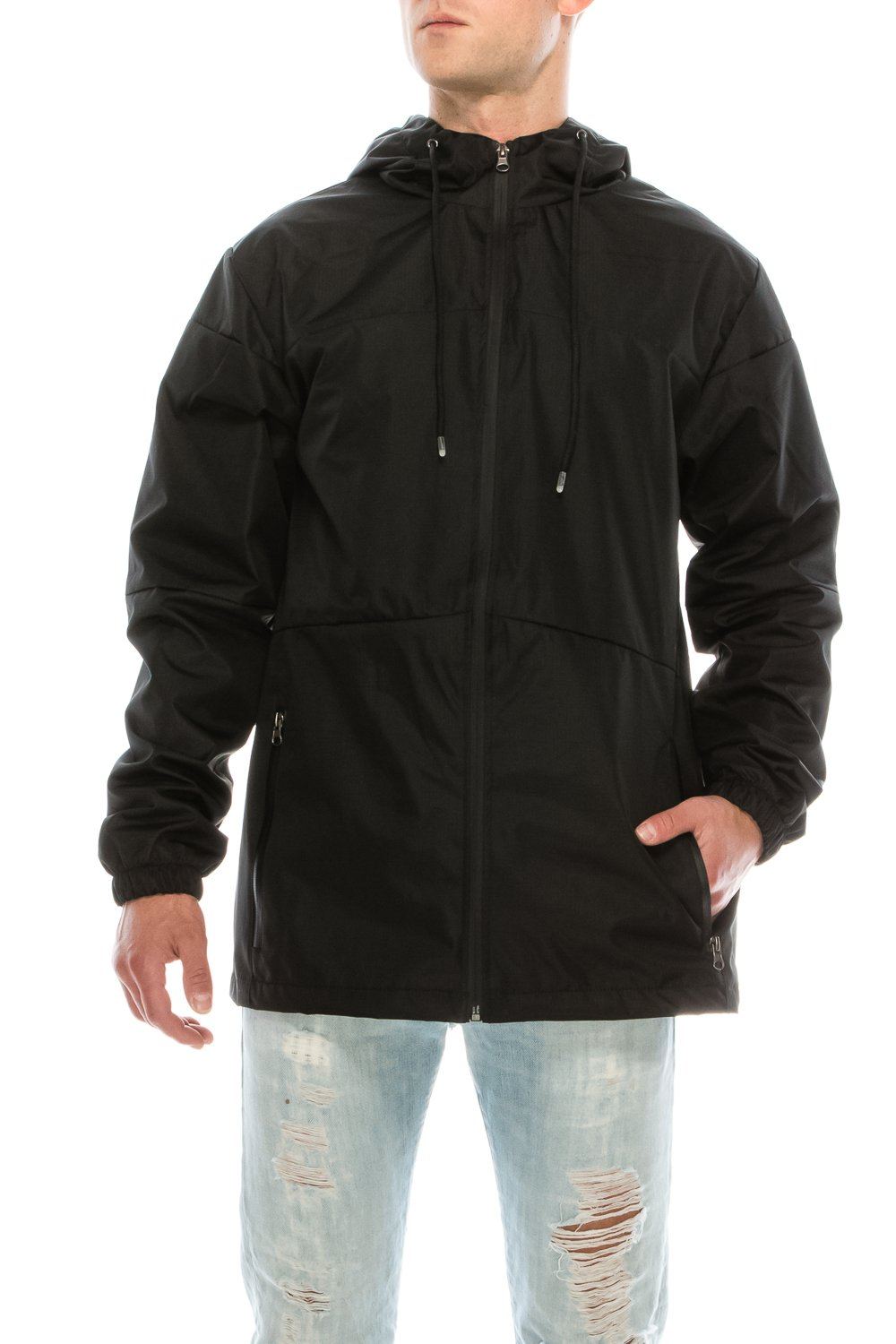 KlothesKnit Men's Light Waterproof Hooded Zip up Jacket with Pockets Large Black
