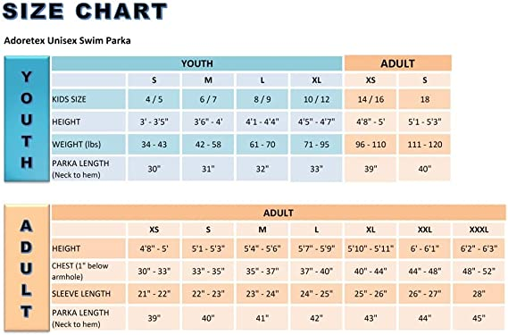 Adoretex Unisex Swim Parka Water Resistant Warm Coat Water Sports Swim Parka for Adults /& Kids S PK006 Adult - ForestGreen