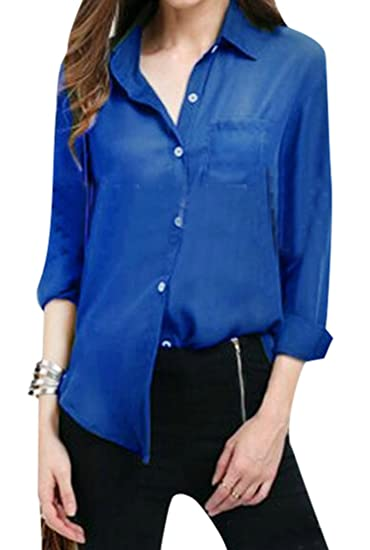 33832429 Fensajomon Womens Casual Long Sleeve Solid Color Chiffon Blouse ...