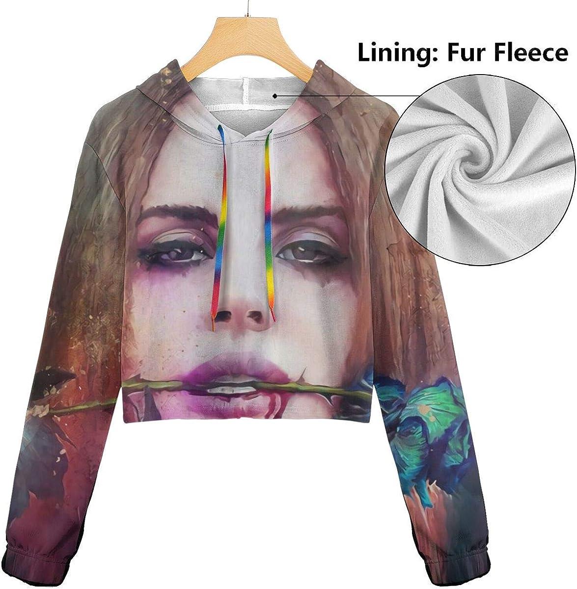 KegamiMisa Lana Del Rey Womans Fashion Dew Navel Cropped Sweatshirts