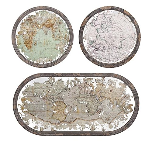IMAX 65249-3 Mirrored Map Wall Decor, Set of 3