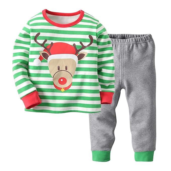 Moberlin Conjunto de Pijamas para Niños con Manga Larga + Pantalones - Ropa de Dormir para