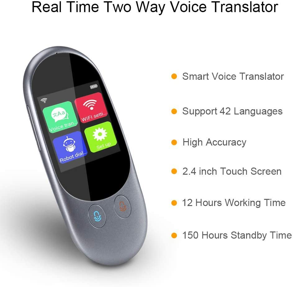SUNGLIFE Smart Language Translator Device Two Way WiFi//Hotspot//Offline Instant 2.4 Inch Touch Screen Support 42 Languages Pocket Voice//Text//Recording//Photo Camera Translation Travel